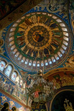 SIBIU, TRANSYLVANIAROMANIA - SEPTEMBER 16 : Interior view of the Holy Trinity Cathedral in Sibiu Transylvania Romania on September 16, 2018