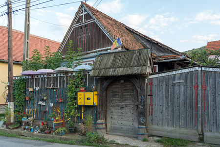 SIBIEL, TRANSYLVANIAROMANIA - SEPTEMBER 16 : Strange house in Sibiel Transylvania Romania on September 16, 2018 Editorial