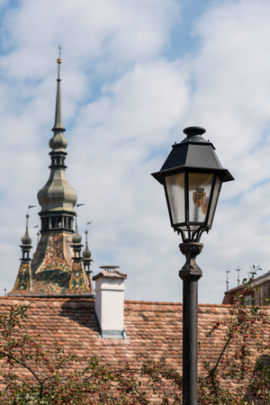 SIGHISOARA, TRANSYLVANIAROMANIA - SEPTEMBER 17 : Old Lamp in Sighisoara Transylvania Romania on September 17, 2018