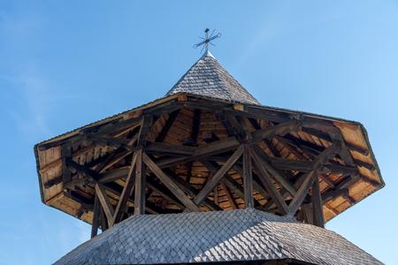 CAMPULUNG MOLDOVENESC, TRANSYLVANIAROMANIA - SEPTEMBER 18 : Exterior view of an outbuilding at the Wooden Art Museum in Campulung Moldovenesc Transylvania Romania on September 18, 2018 Editorial