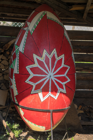 CAMPULUNG MOLDOVENESC, TRANSYLVANIAROMANIA - SEPTEMBER 18 : Huge Easter Egg at the Wooden Art Museum in Campulung Moldovenesc Transylvania Romania on September 18, 2018
