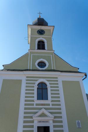 CAMPULUNG MOLDOVENESC, TRANSYLVANIAROMANIA - SEPTEMBER 18 : Exterior view of the Ascension Catholic Church in Campulung Moldovenesc Transylvania Romania on September 18, 2018