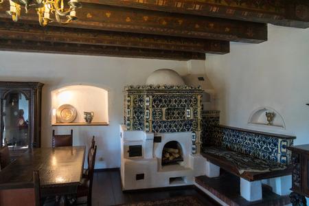 BRAN, TRANSYLVANIAROMANIA - SEPTEMBER 20 : Interior view of Draculas Castle in Bran Transylvania Romania on September 20, 2018 Editöryel