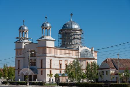 PREJMER, TRANSYLVANIAROMANIA - SEPTEMBER 20 : Exterior view of a new church being built in Prejmer Transylvania Romania on September 20, 2018
