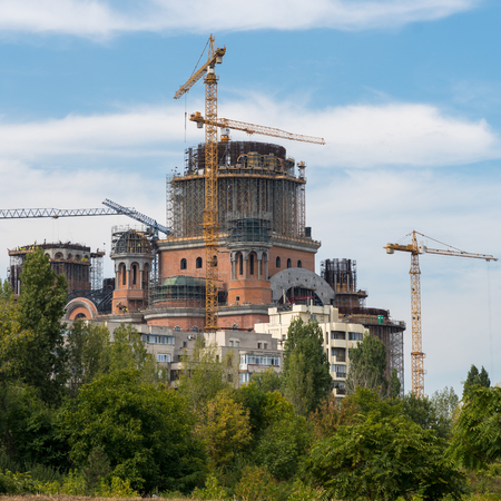 BUCHAREST/ROMANIA - SEPTEMBER 21 : The Romanian People's Salvation Cathedral under construction in Bucharest Romania on September 21, 2018