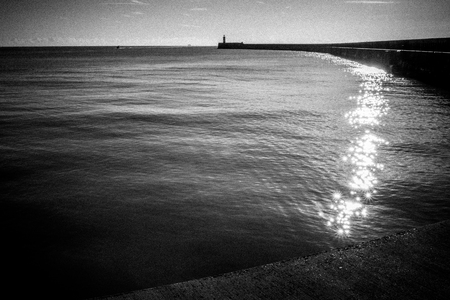 View towards the lighthouse at Newhaven East Sussex