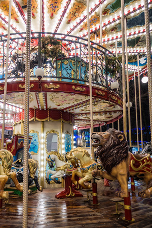 CARDIFF, WALES/UK - DECEMBER 15 : Carousel at Christmas in Cardiff Wales on December 15, 2018