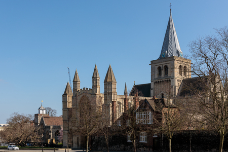 ROCHESTER, KENT/UK - MARCH 24 : View of the Cathedral in Rochester on March 24, 2019. Unidentified people
