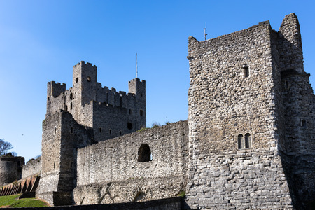 ROCHESTER, KENT/UK - MARCH 24 : View of the Castle in Rochester on March 24, 2019