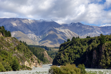 View of the dried up Rakaia River bed in summertime