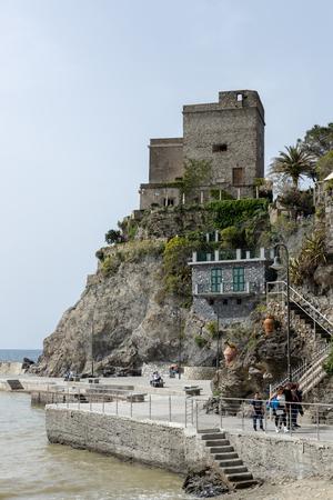 MONTEROSSO, LIGURIAITALY  - APRIL 22 : View of the castle at Monterosso Liguria Italy on April 22, 2019. Unidentified people