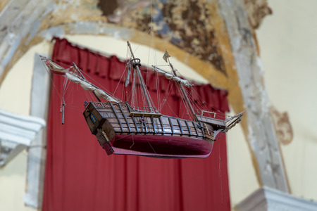 Model galleon hanging from the ceiling of the Santa Croce Oratory building  in Monterosso Liguria Italy