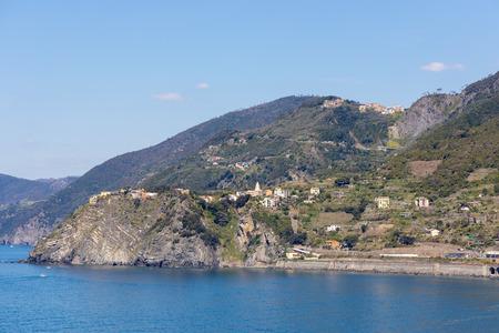 View of the coastline at Corniglia Liguria Italy