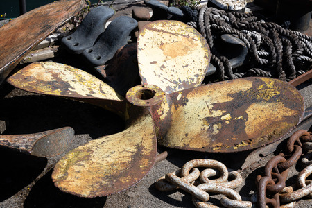 Miscellaneous items of maritime equipment by the SS Great Britain in dry dock in Bristol