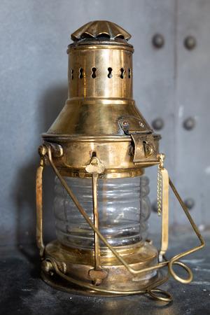 Brass lantern on the ship in dry dock