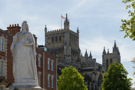 BRISTOL, UK - MAY 14 : Queen Victoria's statue near the Cathedral in Bristol on May 14, 2019