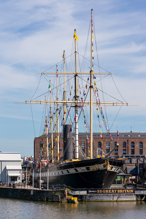 BRISTOL, UK - MAY 13 : View of the SS Great Britain in dry dock in Bristol on May 13, 2019 Reklamní fotografie - 124021458