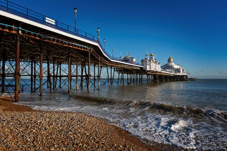 EASTBOURNE, EAST SUSSEXUK: View of Eastbourne Pier in East Sussex on January 28, 2019