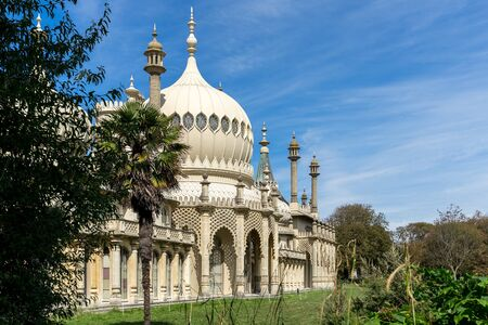 BRIGHTON, SUSSEXUK - AUGUST 31 : View of the Royal Pavilion in Brighton Sussex on August 31, 2019