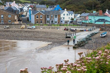 LITTLE HAVEN, PEMBROKESHIRE/UK - SEPTEMBER 12 : View of the village of Little Haven Pembrokeshire on September12, 2019. Unidentified people