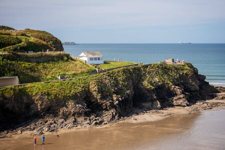 LITTLE HAVEN, PEMBROKESHIRE/UK - SEPTEMBER 14 : View of the bay at Little Haven Pembrokeshire on September 14, 2019. Unidentified people