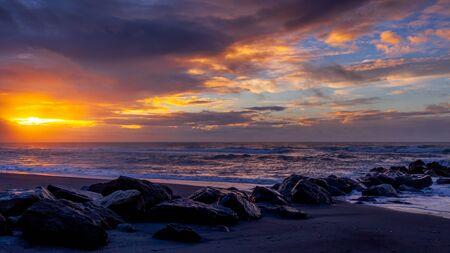Sunset at Hokitika beach in New Zealand Stock fotó