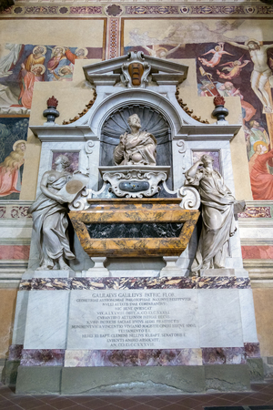 FLORENCE, TUSCANYITALY - OCTOBER 19 : Tomb of Galileo Galilei in Santa Croce Church in Florence on October 19, 2019