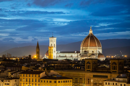 FLORENCE, TUSCANY/ITALY - OCTOBER 18 : View of Florence Cathedral at dusk in Florence on October 18, 2019