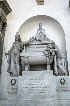 FLORENCE, TUSCANYITALY - OCTOBER 19 : Monument to Durante di Alighiero degli Alighieri (Dante) in Santa Croce Church in Florence on October 19, 2019