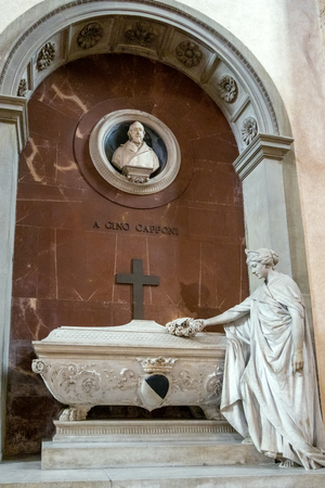 FLORENCE, TUSCANYITALY - OCTOBER 19 : Monument to Gino Capponi in Santa Croce Church in Florence on October 19, 2019