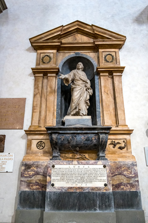 FLORENCE, TUSCANYITALY - OCTOBER 19 : Monument to  Giovanni Lamio in Santa Croce Church in Florence on October 19, 2019