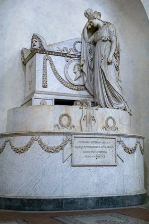 FLORENCE, TUSCANYITALY - OCTOBER 19 : Monument to Vittorio Alfieri in Santa Croce Church in Florence on October 19, 2019 Editorial