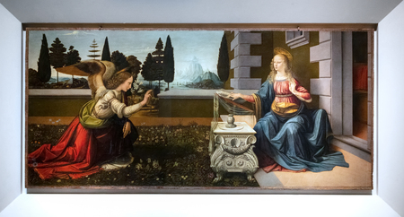 FLORENCE, TUSCANY/ITALY - OCTOBER 19 : Annunciation painting in the Uffizi gallery in Florence on October 19, 2019 Editorial