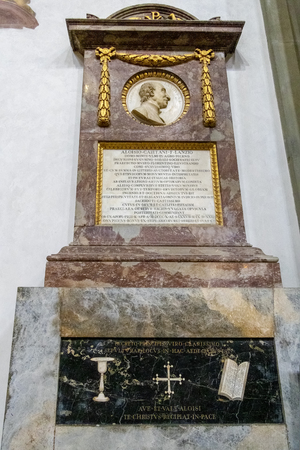 FLORENCE, TUSCANYITALY - OCTOBER 19 : Monument to Luigi Lanzi in Santa Croce Church in Florence on October 19, 2019