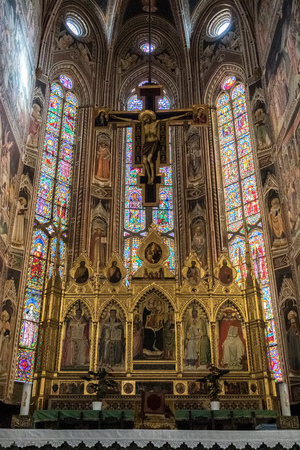 FLORENCE, TUSCANYITALY - OCTOBER 19 : Golden altar in Santa Croce Church in Florence on October 19, 2019 Editorial
