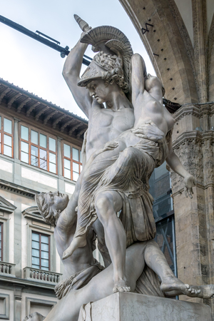 FLORENCE, TUSCANY/ITALY - OCTOBER 19 : Pyrrhus and Polyxena statue, Loggia dei Lanzi, Florence on October 19, 2019