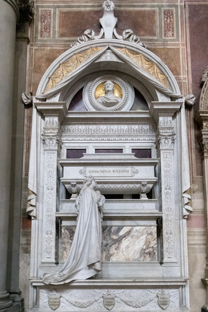 FLORENCE, TUSCANYITALY - OCTOBER 19 : Tomb of Gioacchino Rossini in Santa Croce Church in Florence on October 19, 2019 Editorial