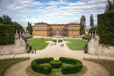 FLORENCE, TUSCANY/ITALY - OCTOBER 20 : View towards Palazzo Pitti in Boboli Gardens Florence on October 20, 2019. Unidentified people Editorial