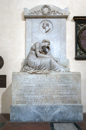 FLORENCE, TUSCANYITALY - OCTOBER 19 : Monument to  Pompeio Josephi in Santa Croce Church in Florence on October 19, 2019