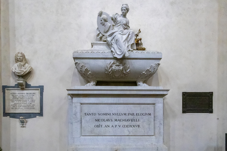 FLORENCE, TUSCANYITALY - OCTOBER 19 : Monument to Niccolo di Bernardo dei Machiavelli in Santa Croce Church in Florence on October 19, 2019