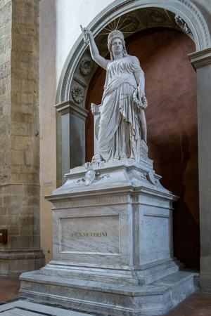 FLORENCE, TUSCANYITALY - OCTOBER 19 : Monument to playwright Giovanni Battista Niccolini in Santa Croce Church in Florence on October 19, 2019 Editorial