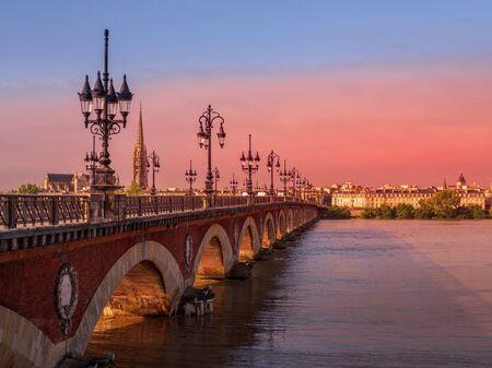 The Pont de Pierre Spanning the River Garonne in Bordeaux France on September 19, 2016