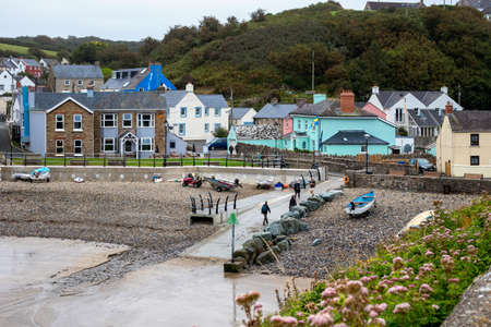 LITTLE HAVEN, PEMBROKESHIRE/UK - SEPTEMBER 12 : View of the village of Little Haven Pembrokeshire on September 12, 2019. Unidentified people