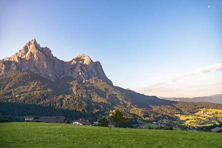 FIE ALLO SCILIAR, SOUTH TYROL/ITALY - AUGUST 8 : View of Sciliar mountain Dolomites, South Tyrol, Italy on August 8, 2020 Editorial