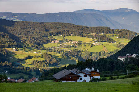 FIE ALLO SCILIAR, SOUTH TYROL/ITALY - AUGUST 8 : View of the countryside from Fie allo Sciliar, South Tyrol, Italy on August 8, 2020