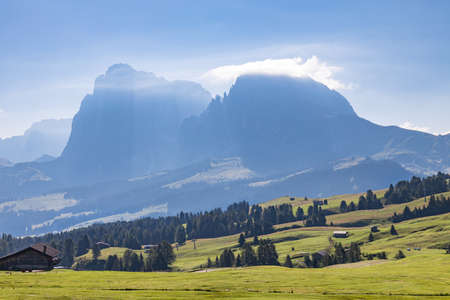 FIE ALLO SCILIAR, SOUTH TYROL/ITALY - AUGUST 8 : View of the countryside near Fie allo Sciliar, South Tyrol, Italy on August 8, 2020