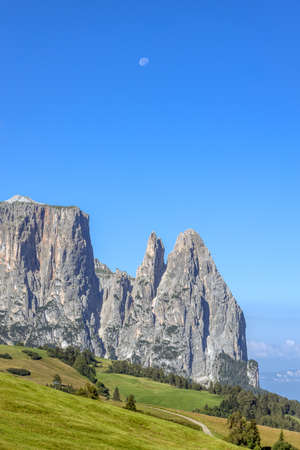 View of Sciliar mountain in the Dolomites, South Tyrol, Italy