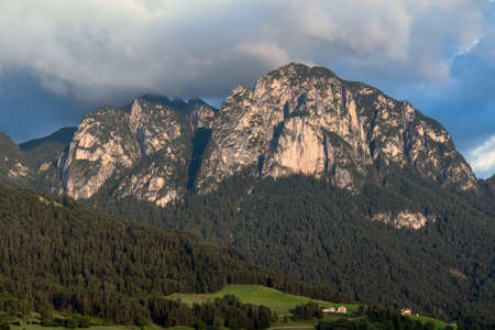 FIE ALLO SCILIAR, SOUTH TYROL/ITALY - AUGUST 7 : View of the Dolomites from Fie allo Sciliar, South Tyrol, Italy on August 7, 2020 Banco de Imagens
