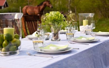 De instelling van de tabel buitenshuis met paarden in de achtergrond  Stockfoto