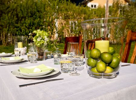Nice Table setting outdoors photo